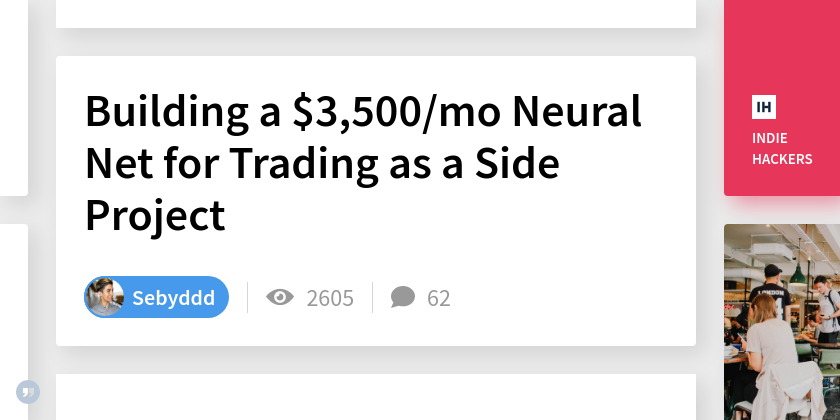 Building a $3,500/mo Neural Net for Trading as a Side Project
