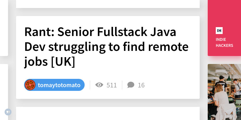 Rant: Senior Fullstack Java Dev struggling to find remote jobs [UK]