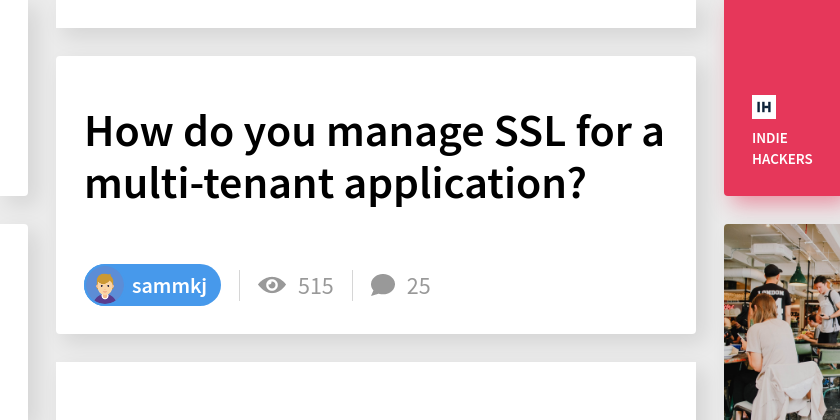 How do you manage SSL for a multi-tenant application?